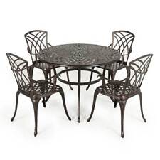 Patio Metal Dining Table Set 4 Seater Seat Garden Outdoor Furniture Chairs