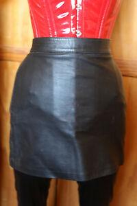 Size 10 Black real leather mini skirt