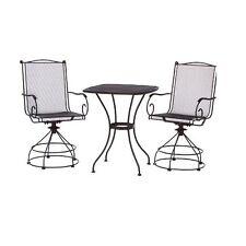 Woodard 3 Pc Steel Wrot Iron Bistro / Balcony Set w/ Mesh Table & Motion Chairs