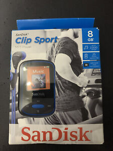 New SanDisk Clip Sport 8GB MP3 Player with FM Radio holds 2000 Songs - Blue