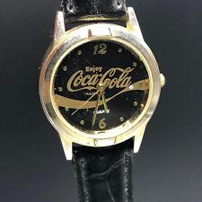 COCA COLA WRISTWATCH black gold watch vintage soda pop coke advertising Japan
