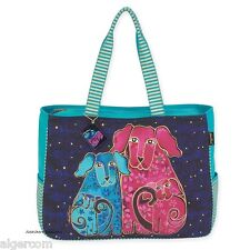 Laurel Burch BLOSSOMING PUPS Dogs Oversized Shoulder Tote Travel Bag NEW 2016