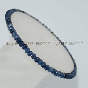 "25mm Blue kyanite gemstone flat oval beads stretchable wide bracelet 6.5/"""