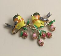 Adorable Two Birds on a tree Branch Brooch Pin enamel gold tone metal