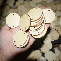 50Pcs Blank Wood Circle Pendants Round Disks Slices with Holes Favor Tags Craft