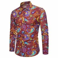 men's floral luxury slim fit t-shirt long sleeve tops stylish formal dress shirt