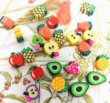 Cute Handmade Polymer Clay Beads Fruit Mixed Colour 30pcs8~14x9~12x4~5mm