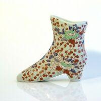 Victoria Ironstone Ware Boot Shoe Vase Porcelain Asian motif floral vtg Marked