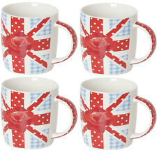 British Set of 4 Bone China Tall Large Coffee Mugs Dishwasher & Microwave Safe