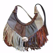 Womens Shoulder Handbag Fringe Hobo Bag Light Soft Genuine Leather Purse Multi