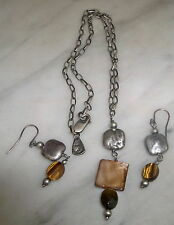 Silpada SET Sterling Silver Tiger's-Eye Necklace  N1336  & Earrings W1327 RET