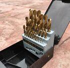NEW 25 pc Piece Titanium HSS Twist Drill Bit Set 1mm - 13mm in Metal Case Metric