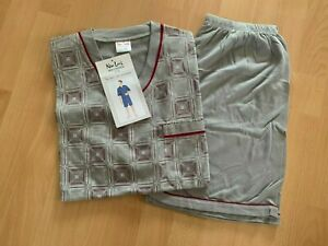 TOP Herren Schlafanzug Shorty Pyjama Gr. M bis 3XL hellgrau gemustert NEU