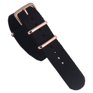 18 20 22mm Black Nylon Watchband Watch Strap Band Sport Rose gold coated Buckle