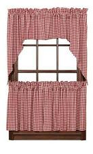 Red Check Gingham Cafe Curtains Tier Set Valance Swags Kitchen SPECIAL PRICE