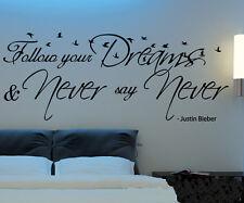 Wide 150cm Justin Bieber Words Nature Vinyl Wall Paper Decal Art Sticker Q717