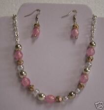 Formal/Prom - Silver & pink Necklace & Earring Set