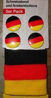 FAN SET (2) + DEUTSCHLAND + Buttons + Schweissband + Outfit zur Fussball WM 2014