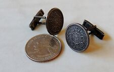 Mark 40 Aztec Sun Calendar Mexican Sterling Silver Cufflinks vintage Eagle