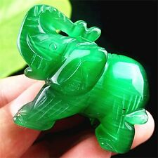 Beautiful unique green Cat Eye stone carved Elephant pendant bead BC4198