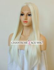 Best Synthetic Hair Front Lace Wigs Long Straight White Blonde Wig Heat Safe UK