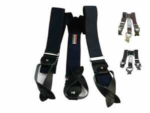 Bretelle uomo blu nere bordeaux tinta unita asole in pelle e bottoni made Italy