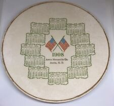 Antique La Belle China 1908 Calendar Plate Aneta Mercantile Co North Dakota Rare