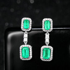 Emerald & Genuine Natural Diamond Drop 14k White Gold Dangle Earrings