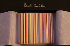 New Paul Smith Multistripe Signature Mens Black Leather Bi-fold Wallet