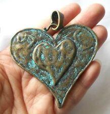"2.5""-large Heart pendant-Patina green brass tone Heart charm pendant"