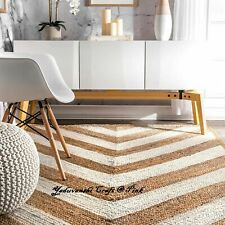 Natural Floor Reversible Handmade Indian Cotton Decorative Carpet Jute Rag Rugs