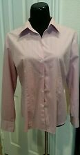 New York & Company City Stretch Large Light Purple/Sliver Striped Top