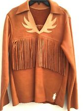 VTG Leather 5-POUNDS Fringe Native American Ceremonial Mountain Man War Shirt S