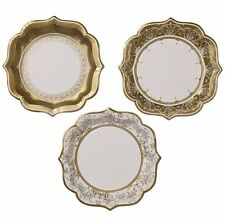 Christmas Party Porcelain Gold Medium Paper Party Plates, 20cm,12 in 3 Designs