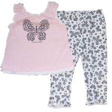 Calvin Klein Baby Mädchen Sommer Outfit Rüschen Top + Hose Schmetterlinge 80