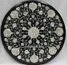 21 Inches Round Marble Patio Side Table Top MOP Stone Sofa Table Inlay Work
