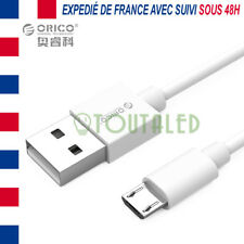 CABLE CORDON MICRO USB 1M BLANC ORICO HIGH SPEED 3A CHARGE TRANSFERT DONNEES