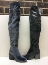 ALDO Onyx Velvet Side Zip Over the Knee Thigh High Boots Women's Size 9