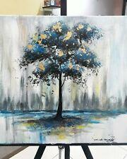 Blue Gold Lead Painting Frame Original 40cm x 40cm Acrylic on Canvas