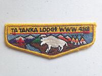 TA TANKA OA LODGE 488 SCOUT SERVICE FLAP PATCH ROUGH STITCH YELLOW !