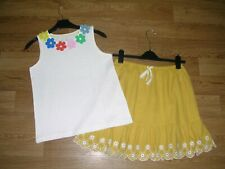 MINI BODEN Girls BNWOT Yellow Cotton Skirt Daisy Top Outfit Age 11-12 152 NEW