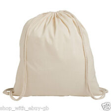 10 x Natural 100% Plain Cotton Drawstring Rucksack Bag with string handles