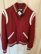 Men's Saint Laurent Red Wool Teddy Bomber Jacket ( Size 50)