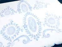 2 Vintage EMBROIDERED PILLOWCASES~ Fine Italian Linen BLUE Medallion Needlework