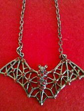 Goth  Red Rhinestone Pewter Bat Necklace
