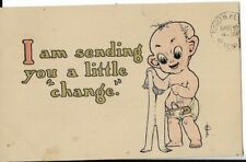wet kid seriesbaby themed postcard i am sending you a little change dated 1911