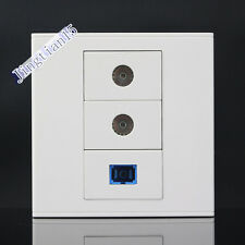 Wall Socket Plate 3 Ports SC Optical Fiber + Dual TV Outlet Panel Faceplate