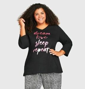 Avenue Dream Love Sleep Top Black Metallic Pink Womens Plus Size 26/28 $29 NEW