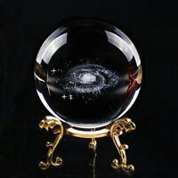 3D Laser Engraved Quartz Glass Ball Globe Galaxy Miniatures Crystal Ball Sphere
