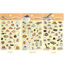 Sanrio Gudetama Lazy Egg 3D Puffy Sticker : 3pcs 1 Set